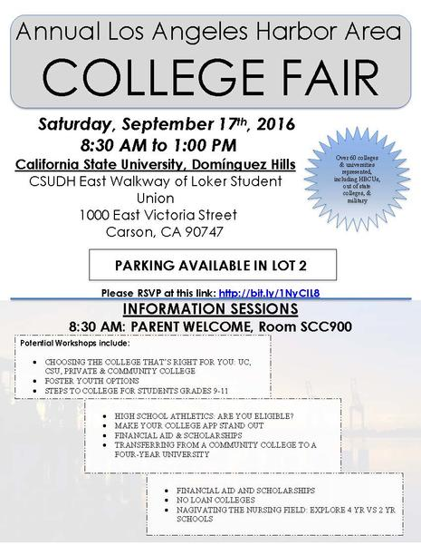Free College Fair: September 17, 2016 at CSU Dominguez Hills